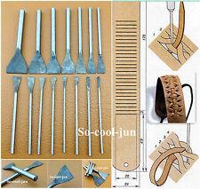 Leder Werkzeug 15pcs Leather Craft Slotted Straight Flat Tip Chisels Punch Tool