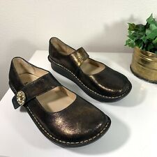 Alegria Paloma Brown Metallic Shoe Comfort Mary Jane New