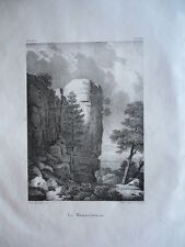 LE MENNELSTEIN   ALSACE GRAVURE ORIGINALE 1870 HAUT RHIN