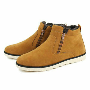Mens Side Zipper Warm Lining Ankle Boots Casual Faux Suede Winter Snow Shoes