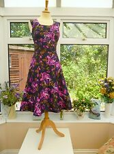 STUNNING *LAURA ASHLEY* NAVY BLUE, PURPLE & PINK FLORAL ROSES TEA DRESS Sz 8
