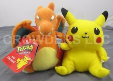 Pokemon Beanbag Plush #06 Charizard & #25 Pikachu Hasbro Nintendo 1998 New Tags