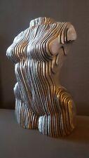 Unique Metal Torso Female Sculpture Man Cave Abstract Face Bust Torso.
