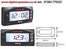 Motorcycle Time Clock & Volt meter white backlight waterproof case KOSO mini 3