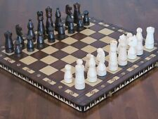 BRAND NEW♞  OLD STYLE HAND CARVED WOODEN CHESS SET 56cmx56cm ♚