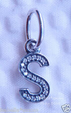 LETTER S Authentic PANDORA Sterling Silver/Cz Zirconia Dangle NEW Charm-Bead NEW