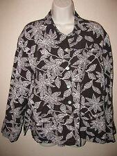 sz 2 CHICOS Design Shirt Long Sleeve Silk Linen Brown White Floral Button Front