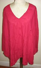 JOHNNY WAS Size M Red 100% Cotton Sophia Flare Lace V-Neck Tunic NWT $248