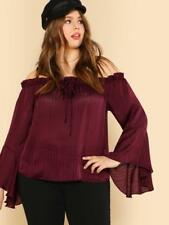 NEW..Stunning Plus Size Burgundy Off the Shoulder Bardot Top..SZ20/2XL