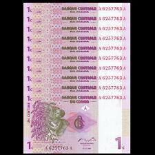 Lot 10 PCS, Congo 1 Centime, 1997, P-80, UNC, 1/10 Bundle, Banknotes
