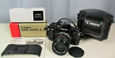 Canon A-1 SLR Camera W/ Leather Case, Data Back, 35mm Lens, Grip & New Battery.
