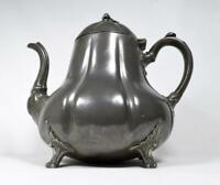 Antique Victorian Pewter Gourd Teapot c1860s Thomas Otley