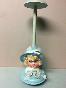 Antique German Wood HAT STAND W/Beautiful Doll Head Base!