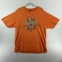 Volcom Mens Pullover T-Shirt Large Orange Graphic Short Sleeve