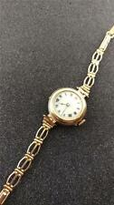 VINTAGE LADIES WRISTWATCH 9CT SOLID GOLD PORCELAIN DIAL FROM 1920'S