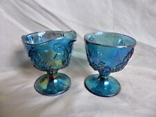 Indiana Harvest Grape Iridescent Blue Carnival Glass Creamer & Sugar Dish Set