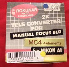 Rokunar 2x MC4 Tele Converter For Manual Focus SLR Nikon AI Elements Camera Lens