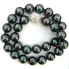 """10mm Black AB South Sea Shell Pearl Necklace 18"""" AAA"""