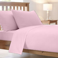 Pink Poly-cotton Plain Dyed Fitted Bed Sheet All Size Top Quality