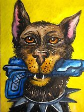 Watercolor Painting Dog Gun Doberman Home Pet Aceo Art Card