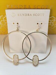 Kendra Scott Elora Hoop Gold Iridescent Drusy Drop Earrings Gift Box - NWT