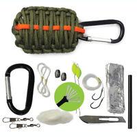 Outdoor Carabiner Grenade Paracord Survival Kit Keychain Fishing Fire Starter