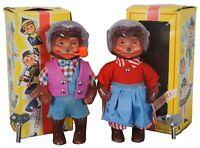 Vintage German Sweetheart Celluloid Dancing Bear Dolls Pair Mama Papa DBGM 1/12