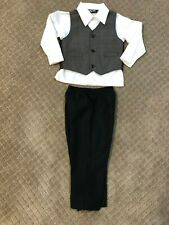 Happy Fella Toddler Boys Vest, White Dress Shirt, Black Pants Size 24 Months