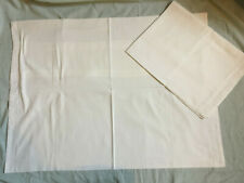 More details for vintage pair of white pillow cases hotel stripe white 100% cotton