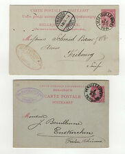 Belgique 2 entiers postaux sur 2 cartes postales tampon à date 1886 1894 /TSL39