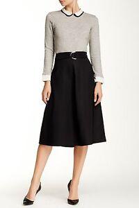 NWT Harlowe & Graham Women'S A-Line Skirt w Belt BLACK XS S M BURGUNDY