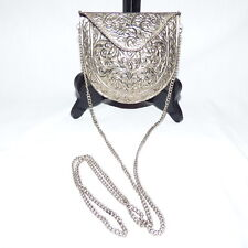 """VINTAGE SILVER METAL ENGRAVED CLUTCH EVENING BAG PURSE INDIA 5 1/2"""" X 5"""" X 2"""""""