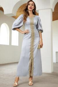 Dubai Abaya Gray And Gold Moroccan Kaftan Eid Jalabiya Dress Muslim Thobe