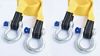 """2x 3"""" 20000lbs 3x10 ft Tow Strap+Blue Pin Bow Shackles winch tree saver recovery"""