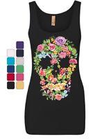 Flower Skull Women's Tank Top Sugar Skull Calavera Dia de los Muertos Top