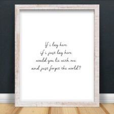 A4 Snow Patrol Lyrics Typography Print Song Gift Home UNFRAMED Chasing Cars Love