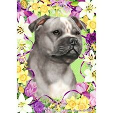Easter House Flag - Blue and White Staffordshire Bull Terrier 33248