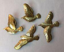 Brass Birds Hanging Set of 4 3D Home Interiors Wall Art Flying Swallows