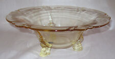 1930 Heisey Glass Empress Floral Bowl Sahara Yellow Dolphin 3 Toe Foil Tag Label