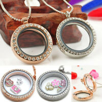 Nice Glass Round Charm Crystal Rhinestone Living Memory Floating Locket Necklace