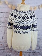 M&S cream blue nordic chunky jumper 8 fair isle roll neck sequins beads wool mix