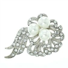 Flower Brooch Made With Swarovski Crystal Pearl Clear New Pin Wedding Jewelry