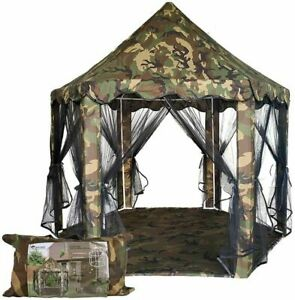 Camouflage Tent Waterproof Playhouse Hiking Camp Indoor Outdoor Playtime 55X53