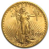 1908-D $20 Saint-Gaudens Gold Double Eagle No Motto AU - SKU#7430