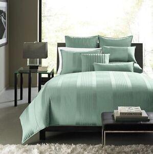 $95 Hotel Collection Classic Stripe Green Cotton Blend Standard Pillow Sham