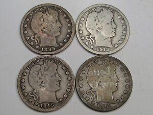 4 Barber Quarters: 1895-o, 1913-d, 1915, 1915-d.  #28