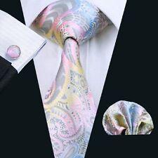 SN-542 Mens Pink Paisleys 100% Silk Tie Set Jacquard Woven Wedding Neckties Set