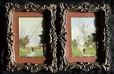 Pendant de Tableaux Barbizon signés Engel + cadre rocaille XIX° siècle