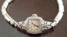 VINTAGE LADIES BULOVA 14K SOLID WHITE GOLD WITH DIAMONDS WRIST WATCH KEEPING TIM