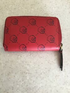 100% Authentic ~ NEW GUCCI GHOST MEN'S RED CARD CASE  UNISEX